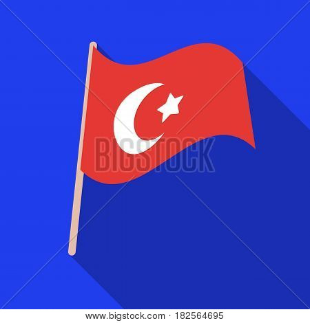 Flag of Turkey icon in flate style isolated on white background. Turkey symbol vector illustration.