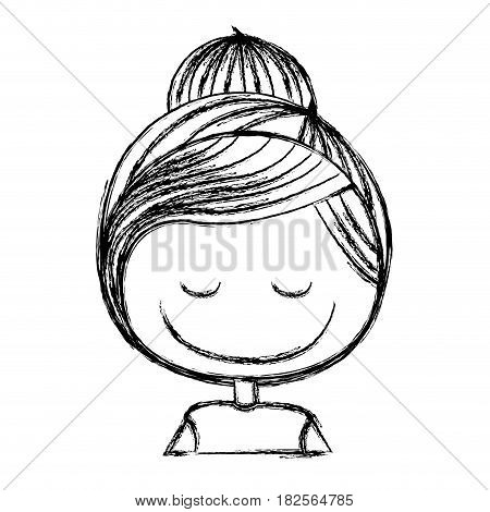 blurred silhouette caricature caricature half body girl with collected hair and eyes closed vector illustration