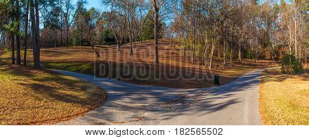 Panoramic view of the footpaths hills and bare trees in the Lullwater Park Atlanta USA
