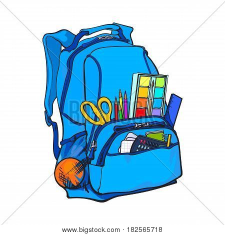 Backpack packed with school items, supplies, sketch vector illustration isolated on white background. School bag, backpack staffed with personal belongings, school items, stationery objects