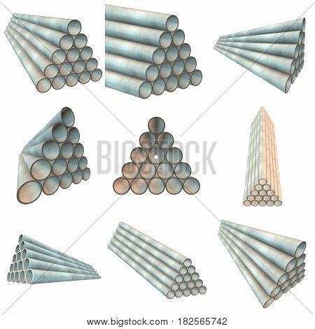 Stack of plastic pipes set. 3d render isolated on white