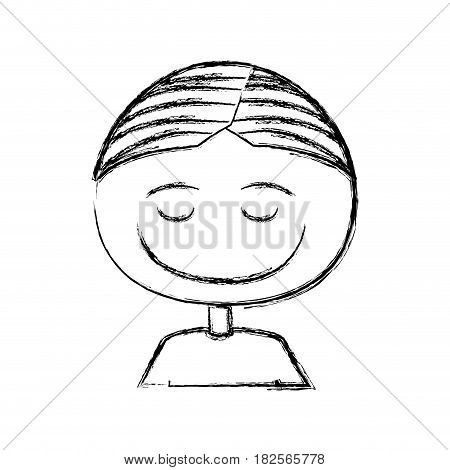 blurred silhouette caricature half body boy with eyes closed and smiling vector illustration