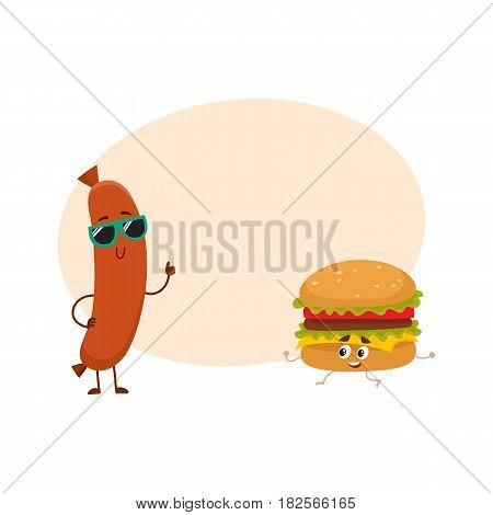 Funny smiling sausage and hamburger characters in sunglasses showing thumb up, fast food concept, cartoon vector illustration with space for text. Sausage and hamburger characters, mascots