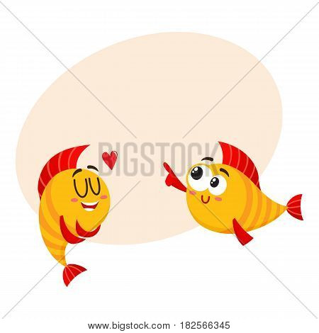 Two funny, smiling golden fish characters, one showing love, another pointing with fin, cartoon vector illustration with space for text. Yellow fish characters, mascots, love and laughing