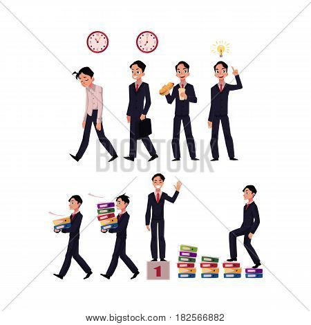 Big set of business situations - going to work, idea generation, lunch, success, career ladder, cartoon vector illustration isolated on white background. Businessman, employee in business situations
