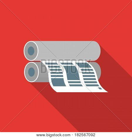 Newspaper printing machine in flate style isolated on white background. Typography symbol vector illustration.