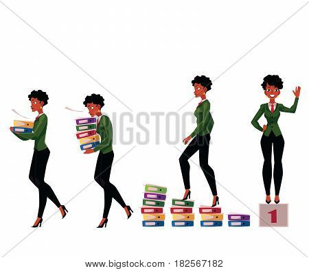 Black, African American businesswoman carrying folders, success, winning, career ladder, cartoon vector illustration isolated on white background. Black businesswoman in various business situations
