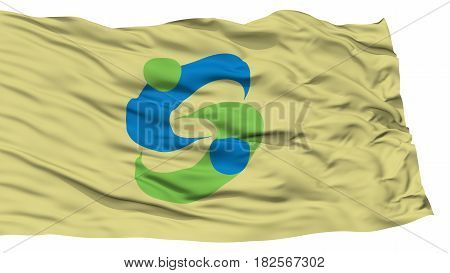 Isolated Saga Flag, Capital of Japan Prefecture, Waving on White Background, High Resolution