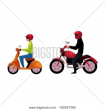 Motorcycle, motorbike and scooter drivers, riders wearing helmet, side vew, cartoon vector illustration isolated on white background. Motorcycle and scooter, two types of typical urban transport