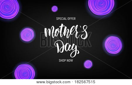 Mothers Day sale layout design. Banner with calligraphy lettering and fluorescent rose flowers.