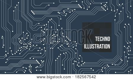 circuit blue green board background with text. vector illustration