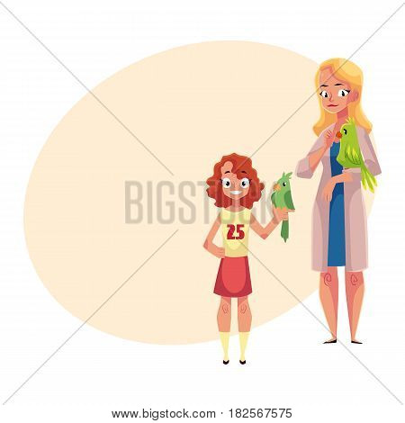 Woman, female veterinarian doctor, vet in white medical coat and little girl holding parrots, cartoon vector illustration with space for text. Veterinarian doctor, vet and girl, pet owner