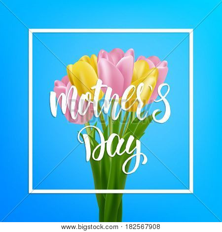 Mothers Day sale background layout. Banner with calligraphy lettering and tulip flowers.