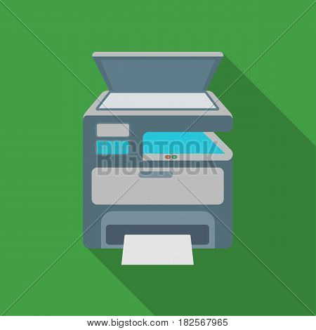 Multi-function printer in flate style isolated on white background. Typography symbol vector illustration.