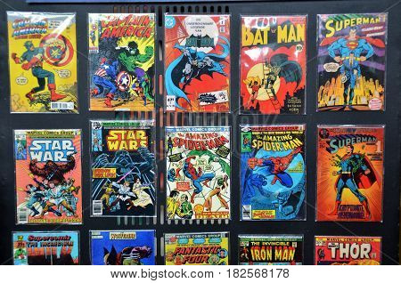 IPOH MALAYSIA- 27 DECEMBER 2016: Comic Books of several Marvel Super-Heroes on the vintage poster.