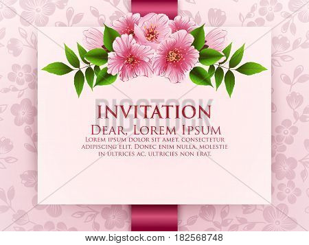Wedding invitation card. Vector invitation card with floral background and elegant frame with text decorated with flower composition. Sakura flowers, cherry blossom.