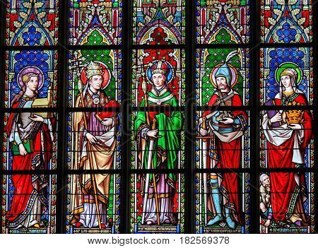 Stained Glass In Brussels Sablon Church - Catholic Saints