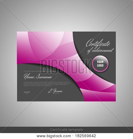 Certificate of achievement completion, appreciation, graduation, diploma or award . Stock vector