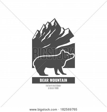 Bear Mountain. Logo with the bear and the mountains in a retro style. Stock vector.