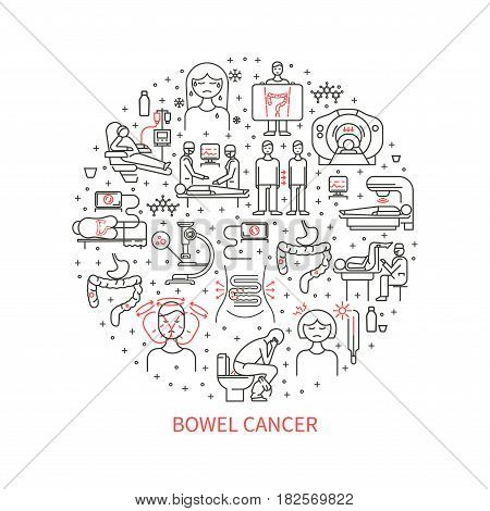 Vector illustration of colon cancer. The concept of health.
