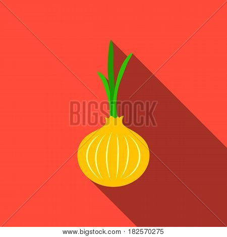 Onion icon flate. Singe vegetables icon from the eco food flate.