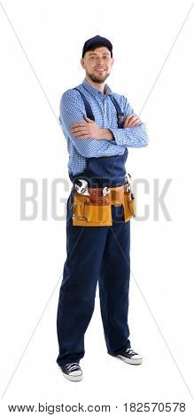 Plumber with crossed arms isolated on white