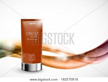 Body cream cosmetic ads template with orange realistic plastic bottle on wavy soft light elegant smooth lines background. Vector illustration