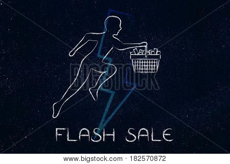 Customer Running With Shopping Basket To Buy Fast, Flash Sale