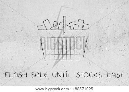 Full Shopping Basket With Lightning Bolt Overlay, Flash Sale