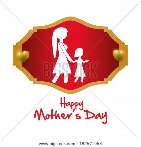 happy mothers day mom with daughter invitation vector illustration eps 10