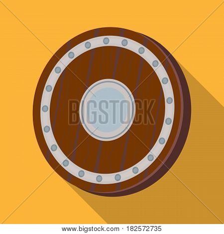Viking shield icon in flate design isolated on white background. Vikings symbol stock vector illustration.