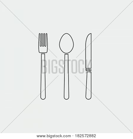 fork knife and spoon icon isolated on white background .
