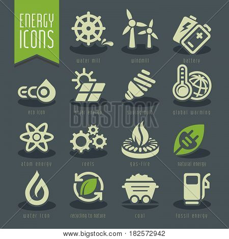 High quality vector icon set related to energy.