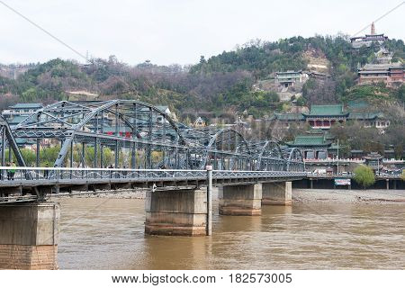 Gansu, China - Apr 07 2015: Yellow River Bridge (zhongshan Bridge). The Bridge Was The First Permane