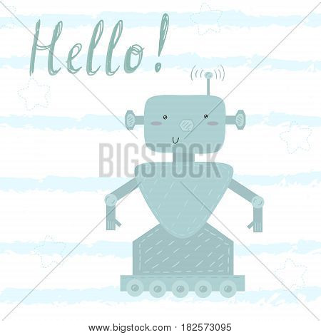 Cute hand drawn Robot. Vector illustration. Vector print