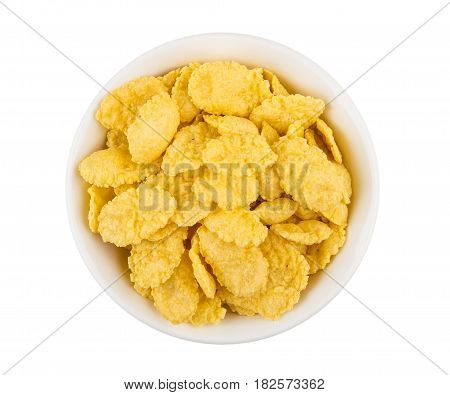 Corn Flakes In Glass Bowl Isolated On White Background