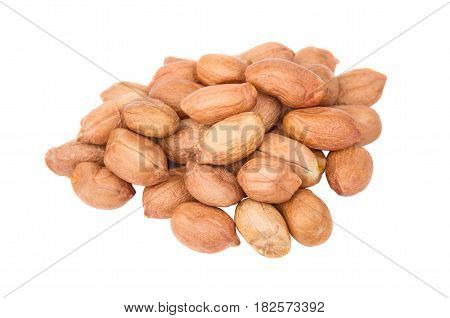 Heap Of Peeled Peanuts Isolated On White Background