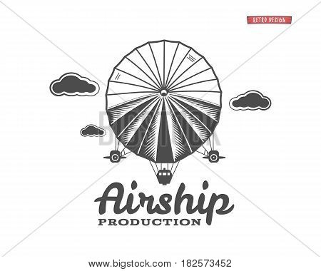 Vintage airship logo. Retro Dirigible balloon grunge template. Badge design. Old sketching style. Use as , label, stamp for web or tee , t-shirt print. Fly .Monochrome.