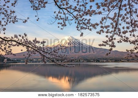 Kawaguchi Lake, Japan at Mt. Fuji in the morning during the spring.