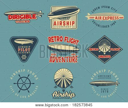 Vintage airship logo designs set. Retro Dirigible badges collection. Airplane Label design. Old airship design. Use as fly logos, labels, stamps, patches for web design, tee design, t-shirt