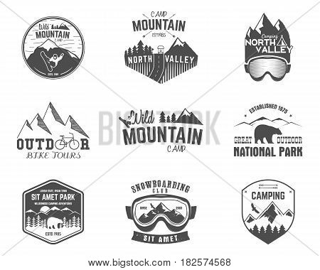 Summer and winter mountain explorer camp badge, logo and label templates set. Travel, hiking, climbing style. Snowboard, ski patches. Bike stamp, campsite sign. For web, tee, print