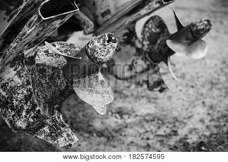 Old Rusted Propeller Screws, Grungy Black And White