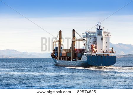 Container Ship Goes On Norwegian Sea, Trondheim