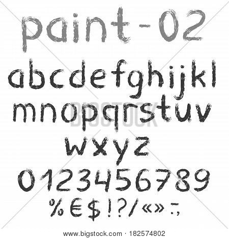 Grunge grey painted english alphabet with numbers and symbols. Vector set. Isolated on white background