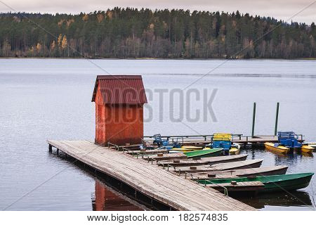 Small Red Barn On Floating Pier