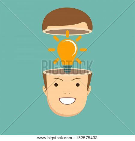 A Caucasian businessman has a bright idea for marketing strategy with a bulb on his head. Human intelligence concept. A contemporary style with pastel palette, tinted background