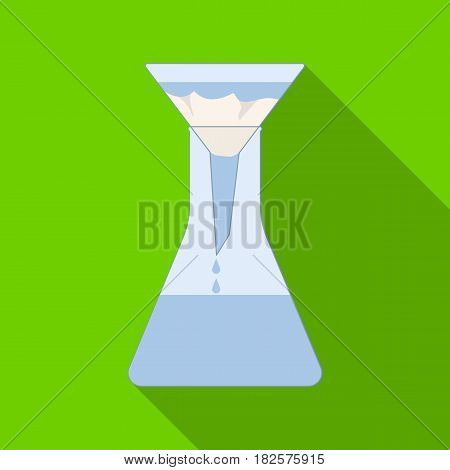 Filtration of water solution in a conical flask icon in flate design isolated on white background. Water filtration system symbol stock vector illustration.