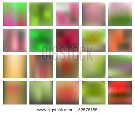 Square blurred nature backgrounds. Sunset and sunrise sea blurred background