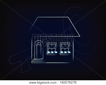 House With Key Overlay Vector, Concept Of Renting Or Buying