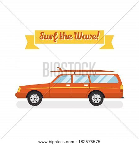 retro flat web banner design on surfing, best summer vacation, beach recreation, water activities for travel agency promotion with woody surf car, surfboards. Vintage car isolated.